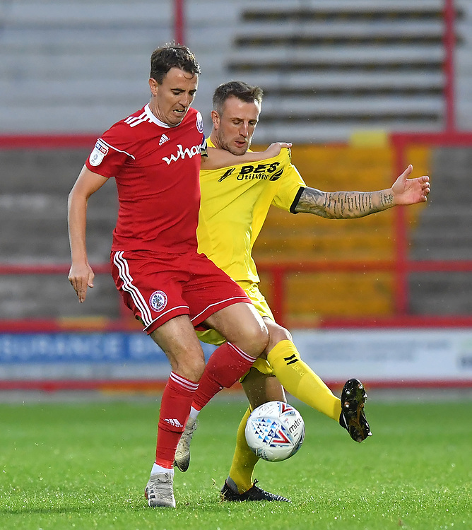 Fleetwood Town's Peter Clarke battles for the ball<br /> <br /> Photographer Dave Howarth/CameraSport<br /> <br /> EFL Leasing.com Trophy - Northern Section - Group B - Tuesday 3rd September 2019 - Accrington Stanley v Fleetwood Town - Crown Ground - Accrington<br />  <br /> World Copyright © 2019 CameraSport. All rights reserved. 43 Linden Ave. Countesthorpe. Leicester. England. LE8 5PG - Tel: +44 (0) 116 277 4147 - admin@camerasport.com - www.camerasport.com