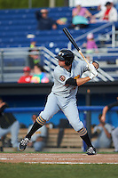 West Virginia Black Bears first baseman Albert Baur (25) at bat during a game against the Batavia Muckdogs on August 21, 2016 at Dwyer Stadium in Batavia, New York.  West Virginia defeated Batavia 6-5.  (Mike Janes/Four Seam Images)