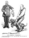 "All Barking ""Verboten."" President Hindenburg (to Herr Von Papen). ""Hold him tight; and if he gives you any trouble use this."" (an Interwar cartoon shows Hindenburg offering a muzzle to control the Reichstag dog)"