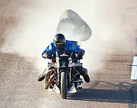 Feb 24, 2018; Chandler, AZ, USA; NHRA nitro harley rider Jay Turner during qualifying for the Arizona Nationals at Wild Horse Pass Motorsports Park. Mandatory Credit: Mark J. Rebilas-USA TODAY Sports