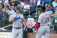 AFL East first baseman Peter Alonso (20), of the Scottsdale Scorpions and the New York Mets organization, celebrates with Taylor Trammel (26) after hitting a home run in the first inning during the Fall Stars game at Surprise Stadium on November 3, 2018 in Surprise, Arizona. The AFL West defeated the AFL East 7-6 . (Zachary Lucy/Four Seam Images)