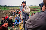 Simon Fairlie at Reclaim the land . St Georges Hill and Wisley Airfield. 1995