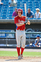 Jonah Heim #7 of Amherst Central High School in Amherst, New York playing for the Philadelphia Phillies scout team during the East Coast Pro Showcase at Alliance Bank Stadium on August 3, 2012 in Syracuse, New York.  (Mike Janes/Four Seam Images)