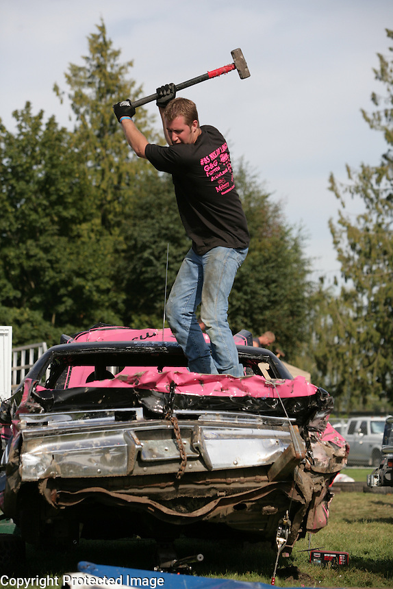 Gary Van Dyken of Everson (grew up in Lynden) Demolition Derby at the NW Washington Fair. August 17, 2009 PHOTOS BY MERYL SCHENKER ..