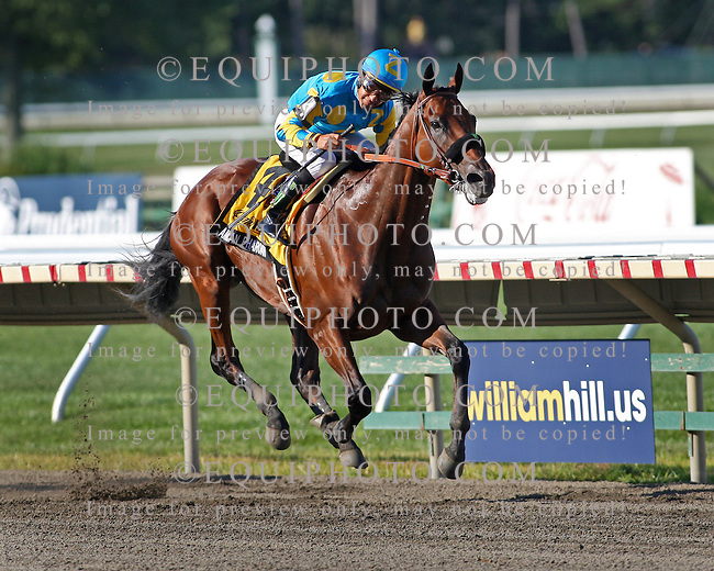 American Pharoah #4 with Victor Espinoza riding, won the $1,750,000 Grade 1 William Hill Haskell Invitational at Monmouth Park on Sunday August 2, 2015.  Photo By Aubrey Therkelsen/EQUI-PHOTO.