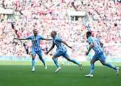 28th May 2018, Wembley Stadium, London, England;  EFL League 2 football, playoff final, Coventry City versus Exeter City; Jack Grimmer of Coventry City celebrates scoring his sides 3rd goal in the 68th minute to make it 3-0 with Liam Kelly and Marc McNulty