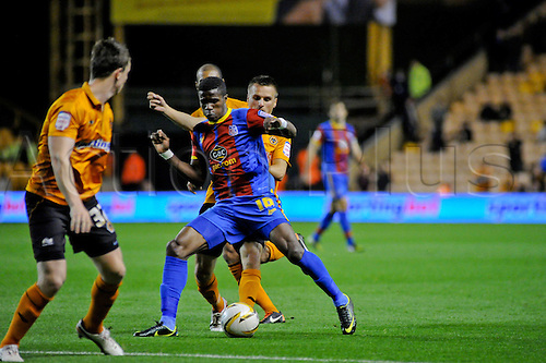 02.10.2012 Wolverhampton, England. Crystal Palace's English forward Wilfried Zaha in action  during the Championship game between Wolverhampton Wanderers  and Crystal Palace from Molineux, Wolverhampton, England