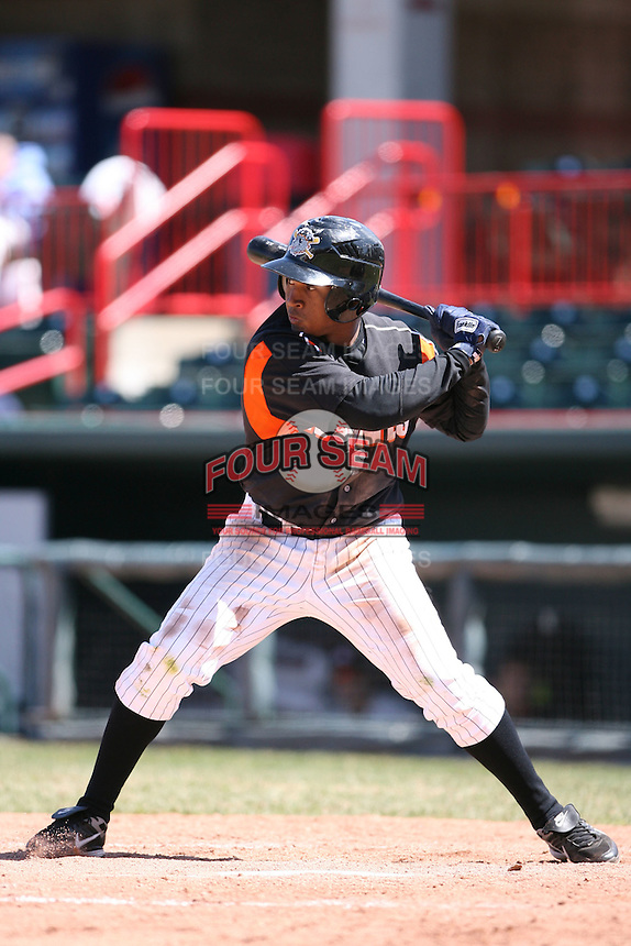 April 15th 2008:  Outfielder Freddy Guzman (7) of the Erie Seawolves, Class-AA affiliate of the Detroit Tigers, during a game at Jerry Uht Park in Erie, PA.  Photo by:  Mike Janes/Four Seam Images