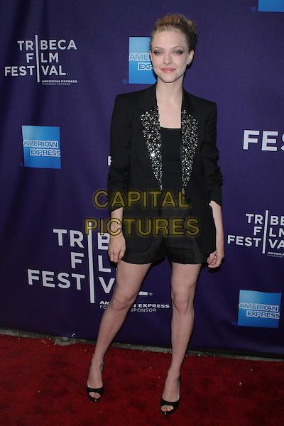 "AMANDA SEYFRIED .attending the 2010 Tribeca Film Festival Premiere of ""Letters to Juliet"" at the SVA Theatre, New York, NY, USA, .April 25th, 2010..full length black jacket open toe shoes silver shorts beaded lapel top patent .CAP/LNC/TOM.©LNC/Capital Pictures."