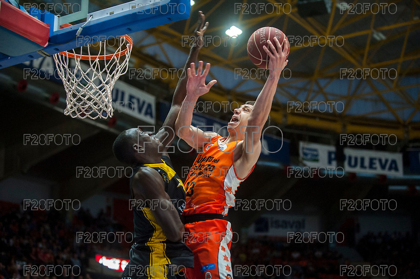 VALENCIA, SPAIN - APRIL 24: Lucic during ENDESA LEAGUE match between Valencia Basket Club and Iberostar Gran Canaria at Fonteta Stadium on April, 2016 in Valencia, Spain