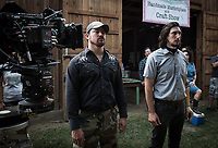 Logan Lucky (2017) <br /> Behind the scenes photo of Channing Tatum &amp; Adam Driver<br /> *Filmstill - Editorial Use Only*<br /> CAP/KFS<br /> Image supplied by Capital Pictures