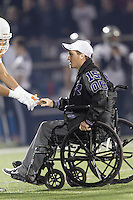 Injured Cedar Ridge quarterback Travis Malesky was named co-captain for the Cedar Ridge-Westwood game November 7, 2014 held at Dragon Stadium.  Malesky broke his leg October 24.  (LOURDES M SHOAF for  Round Rock Leader.)