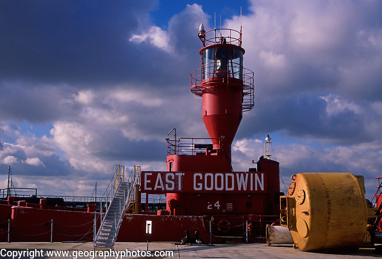 A728GC East Goodwin lightship at dock Harwich Essex England
