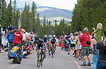 August 11, 2017 - Breckenridge, Colorado, U.S. -   The women's peloton reaches the top of the difficult Moonstone climb during the inaugural Colorado Classic cycling race, Breckenridge, Colorado.