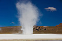 "Bolivia, Altiplano, strong gusts lifting salt above salt lake ""Laguna Amarilla"""