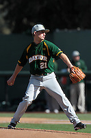 Max Garner #21 of the Baylor Bears pitches against the UCLA Bruins at Jackie Robinson Stadium on February 25, 2012 in Los Angeles,California. UCLA defeated Baylor 9-3.(Larry Goren/Four Seam Images)