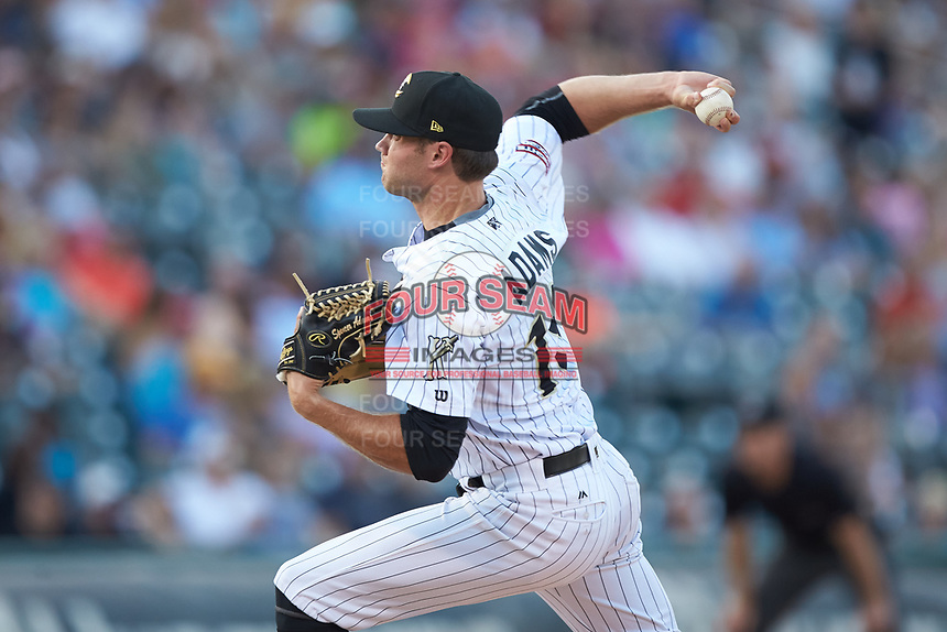 Charlotte Knights starting pitcher Spencer Adams (18) in action against the Toledo Mud Hens at BB&T BallPark on June 22, 2018 in Charlotte, North Carolina. The Mud Hens defeated the Knights 4-0.  (Brian Westerholt/Four Seam Images)