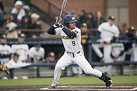 Michigan Wolverines shortstop Michael Brdar (9) at bat against the Michigan State Spartans on May 19, 2017 at Ray Fisher Stadium in Ann Arbor, Michigan. Michigan defeated Michigan State 11-6. (Andrew Woolley/Four Seam Images)