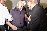 Reverend Bob Larson exorcises Richard McCorkell (CQ) at Miracle Life Ministries International Church, a charismatic deliverance church, in Raleigh, NC Sunday, October 15, 2017. (Justin Cook for The Sun)