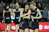 15.09.2018 Silver Ferns Karin Burger and Katrina Grant in action during Silver Ferns v England netball test match at Spark Arena in Auckland. Mandatory Photo Credit ©Michael Bradley.