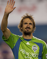 Seattle Sounders FC forward Roger Levesque (24). The New England Revolution defeated the Seattle Sounders FC, 3-1, at Gillette Stadium on September 4, 2010.