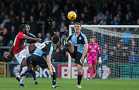 Stephen McGinn of Wycombe Wanderers clears the ball during the Sky Bet League 2 match between Wycombe Wanderers and Crawley Town at Adams Park, High Wycombe, England on 28 December 2015. Photo by Andy Rowland / PRiME Media Images