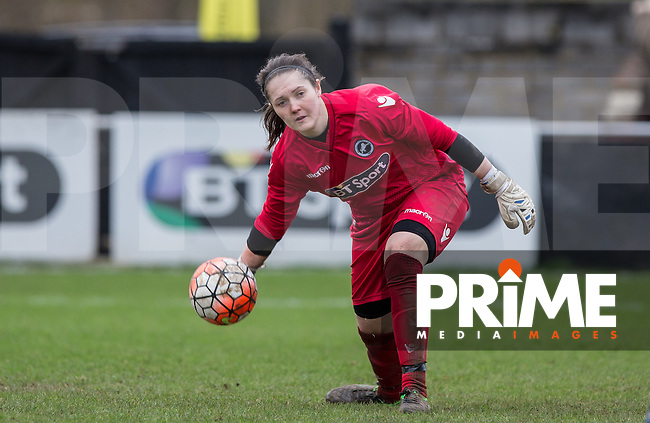 Goalkeeper Sarah Quantrill of Millwall Lionesses during the SSE Women's FA Cup 3rd Round match between Watford Ladies and Millwall Lionesses at Berkhamsted FC, Broadwater, England on 7 February 2016. Photo by Andy Rowland.