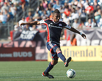 New England Revolution midfielder Juan Agudelo (10) controls the ball. In a Major League Soccer (MLS) match, the New England Revolution (blue) defeated LA Galaxy (white), 5-0, at Gillette Stadium on June 2, 2013.