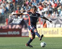 New England Revolution midfielder Juan Agudelo (10) controls the ball. In a Major League Soccer (MLS) match, the New England Revolution (blue) defeated LA Galaxy (white), 5-0, at Gillette Stadium on June 2, 2013.