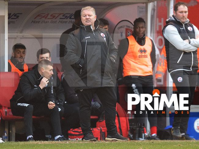 John Yems Manager of Crawley Town during the Sky Bet League 2 match between Crawley Town and Grimsby Town at The People's Pension Stadium, Crawley, England on 25 January 2020. Photo by Alan  Stanford / PRiME Media Images.