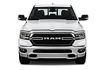 Car photography straight front view of a 2019 Ram Ram-1500-Pickup Big-Horn-Crew-Cab-SWB 4 Door Pickup Front View