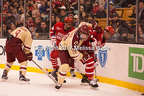 Austin Cangelosi (BC - 9), Jordan Greenway (BU - 18), Ryan Fitzgerald (BC - 19), Doyle Somerby (BU - 27) - The Boston University Terriers defeated the Boston College Eagles 3-1 in their opening Beanpot game on Monday, February 6, 2017, at TD Garden in Boston, Massachusetts.
