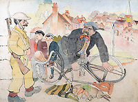 BNPS.co.uk (01202 558833)<br /> Pic: GSpencerEstate/LissLlewellyn<br /> <br /> 'You should have said friend, Fred'<br /> <br /> Never-before-seen paintings depicting the humourous side of the Home Guard that were censored for being too offensive have come to light nearly 80 years later.<br /> <br /> The light-hearted works were produced by the artist Gilbert Spencer more than 25 years before Dad's Army appeared on TV to huge acclaim. <br /> <br /> But Spencer's witty take on life in the Home Guard wasn't quite so well received during the darkest days of the Second World War.<br /> <br /> Spencer was too old to enlist in the army and so joined the Home Guard. In wanting to do his bit he produced 14 paintings based on his amusing observations of the citizen militia that were aimed at cheering up the nation.