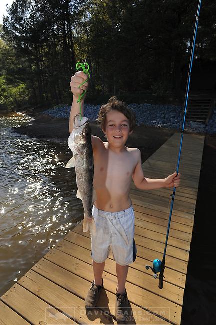 WALLEYE FISHING..Cort DeMaine, 7th grader, caught his first fish at Lake Blue Ridge GA. an 18 inch walleye