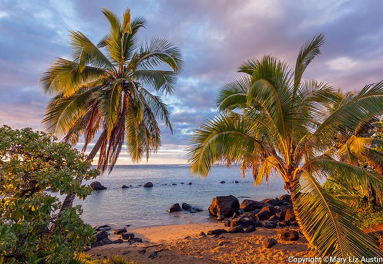 Kauai, HI: Palm trees frame the sunset at Anini beach on Kauai's north shore