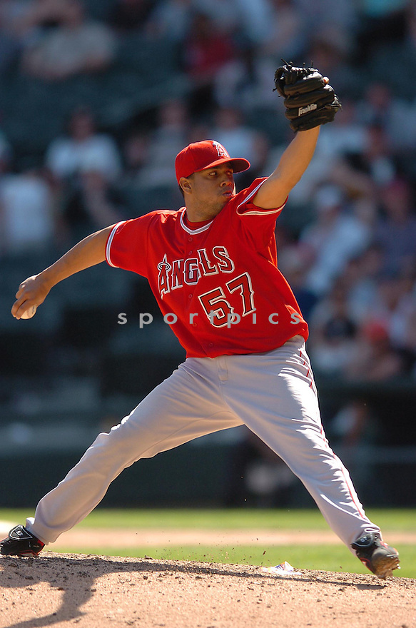 FRANCISCO RODRIGUEZ, of the Los Angeles Angels, in action during the Angels game against the Chicago White Sox in Chicago, Illinois  on April 29, 2007....Angels win 5-2...DAVID DUROCHIK / SPORTPICS..