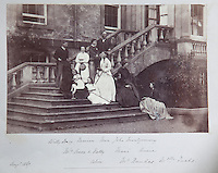 A family group on the steps of Arniston, including the laird's Knox in-laws
