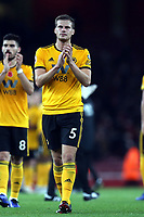 Ryan Bennett of Wolves applauds the Wolves fans after Arsenal vs Wolverhampton Wanderers, Premier League Football at the Emirates Stadium on 11th November 2018