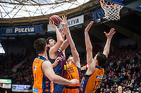 VALENCIA, SPAIN - MARCH 5: Luke Harangody, Dubljevic, Ante Tomic and Lucic during EURO CUP match between Valencia Basket Club and Bascelona F.C. Basket at Fonteta Stadium on March 22, 2015 in Valencia, Spain