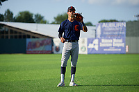Connecticut Tigers Avery Tuck (20) during warmups before a NY-Penn League game against the Auburn Doubledays on July 12, 2019 at Falcon Park in Auburn, New York.  Auburn defeated Connecticut 7-5.  (Mike Janes/Four Seam Images)