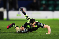 Garry Ringrose of Leinster Rugby scores a try. European Rugby Champions Cup match, between Northampton Saints and Leinster Rugby on December 9, 2016 at Franklin's Gardens in Northampton, England. Photo by: Patrick Khachfe / JMP
