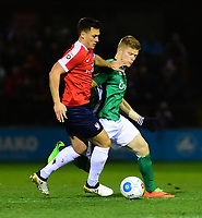 Lincoln City's Elliott Whitehouse vies for possession with York City's Scott Fenwick<br /> <br /> Photographer Andrew Vaughan/CameraSport<br /> <br /> The Buildbase FA Trophy Semi-Final First Leg - York City v Lincoln City - Tuesday 14th March 2017 - Bootham Crescent - York<br />  <br /> World Copyright &copy; 2017 CameraSport. All rights reserved. 43 Linden Ave. Countesthorpe. Leicester. England. LE8 5PG - Tel: +44 (0) 116 277 4147 - admin@camerasport.com - www.camerasport.com
