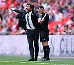 Chelsea Manager Antonio Conte issues instructions during the FA cup semi-final match at Wembley Stadium, London. Picture date 22nd April, 2018. Picture credit should read: Robin Parker/Sportimage