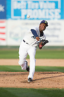 Everett Aquasox pitcher Enyel De Los Santos (30) delivers a pitch during a game against the Spokane Indians at Everett Memorial Stadium in Everett, Washington on July 24, 2015.  Everett defeated Spokane 8-6. (Ronnie Allen/Four Seam Images)