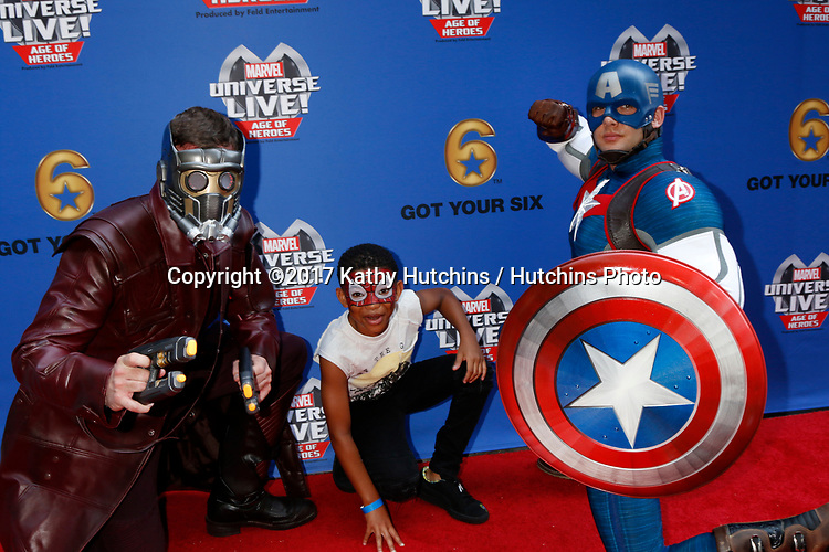 LOS ANGELES - JUL 8:  Star-Lord, Lonnie Chavis, Captain America at the Marvel Universe Live Red Carpet at the Staples Center on July 8, 2017 in Los Angeles, CA