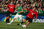 Dublin Ireland. Chile  no 13 Jorge Vargas Palacious holding off Irish Captain Robbie Keane during the friendly soccer international at Lansdowne road Dublin Ireland 24/5/06.Photo AFP/NEWSFILE/FRAN CAFFREY..(Photo credit should read AFP PHOTO/FRAN CAFFREY/NEWSFILE)...This Picture has been sent you under the condtions enclosed by:.Newsfile Ltd..the Studio,.Millmount Abbey,.Drogheda,.Co Meath..Ireland..Tel: +353(0)41-9871240.Fax: +353(0)41-9871260.GSM: +353(0)86-2500958.email: pictures@newsfile.ie.www.newsfile.ie.FTP: 193.120.102.198..This picture is from Fran Caffrey@newsfile.ie