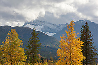Fresh snow on the peaks of the Chugach mountains, Trail lake, Chugach National Forest, Kenai Peninsula, southcentral, Alaska.