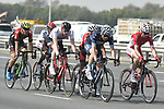 The breakaway group in action during Stage 2 The Ras Al Khaimah Stage of the Dubai Tour 2018 the Dubai Tour&rsquo;s 5th edition, running 190km from Skydive Dubai to Ras Al Khaimah, Dubai, United Arab Emirates. 7th February 2018.<br /> Picture: LaPresse/Fabio Ferrari | Cyclefile<br /> <br /> <br /> All photos usage must carry mandatory copyright credit (&copy; Cyclefile | LaPresse/Fabio Ferrari)