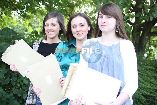 Rachel Farrell, Laura Cunningham and Doireann Ní Chaoimh after getting their Leaving Certificate Results at Greenhills School. ..Picture Jenny Matthews/Newsfile.ie