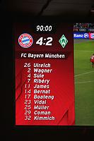 21.01.2018,  Football 1.Liga 2017/2018, 19. match day, FC Bayern Muenchen - SV Werder Bremen, in Allianz-Arena Muenchen. Endstand and Aufstellung der Bayern auf der Anzeigetafel. *** Local Caption *** © pixathlon<br /> <br /> +++ NED + SUI out !!! +++<br /> Contact: +49-40-22 63 02 60 , info@pixathlon.de